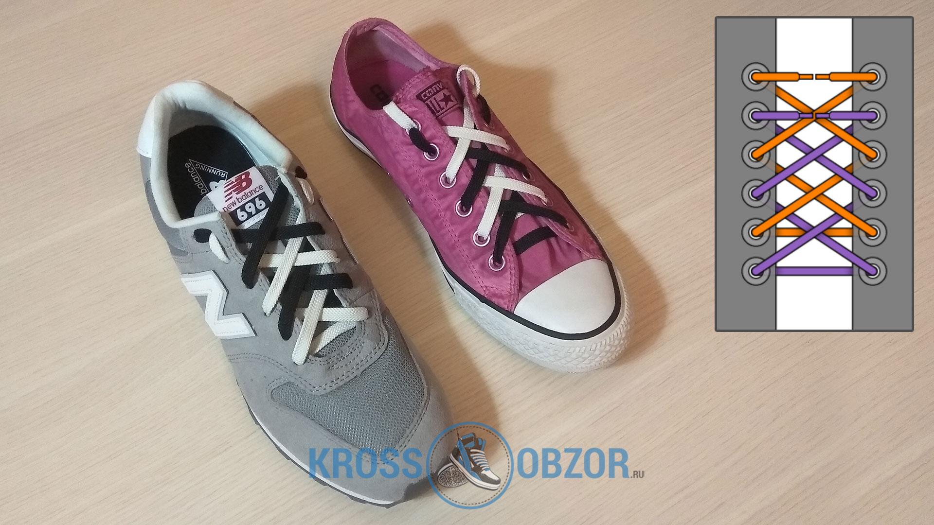 Двойная двухцветная шнуровка для кроссовок и кед