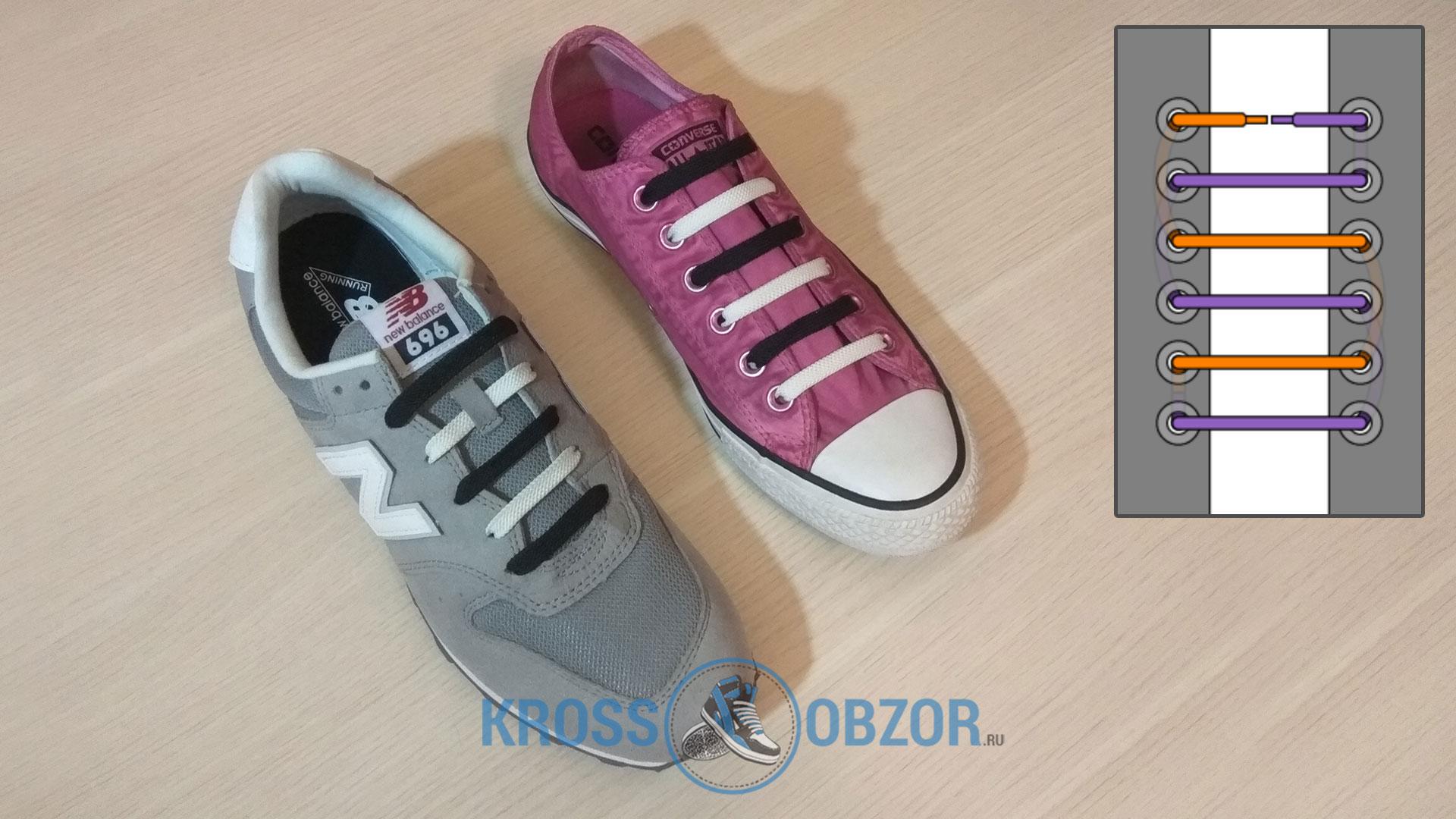 Двуцветная шнуровка для кроссовок и кед
