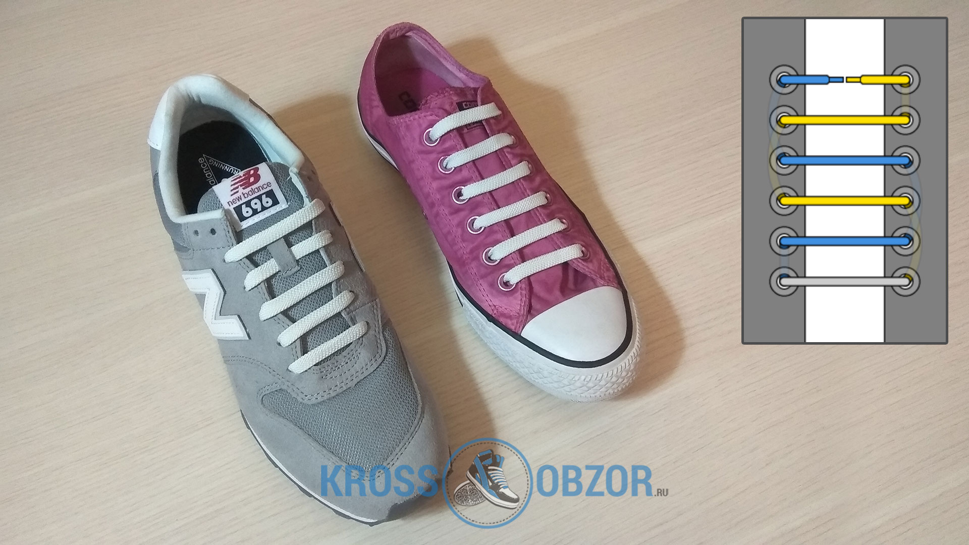 Ровная шнуровка для кроссовок и кед