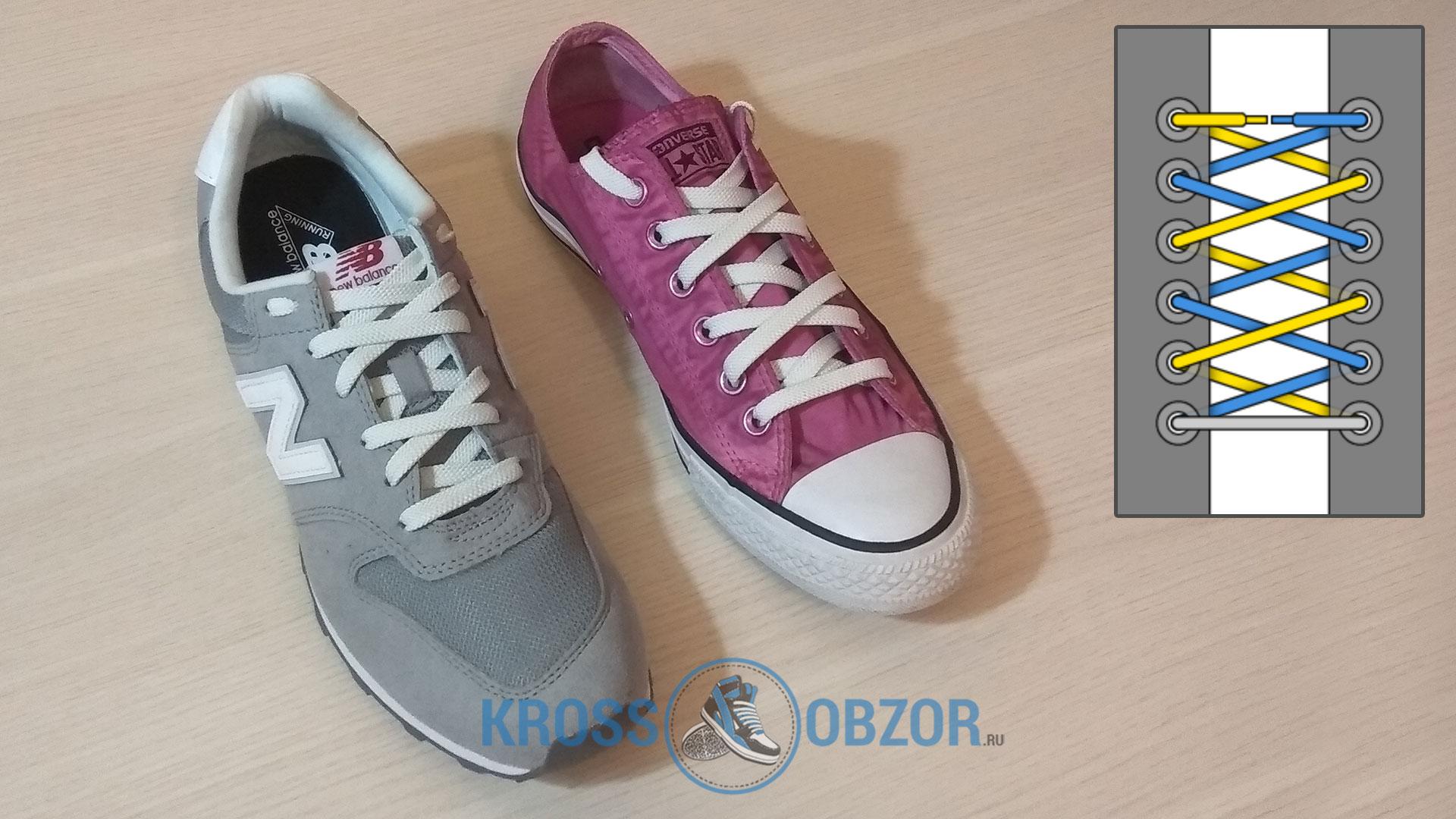 Шнуровка зеркальный зигзаг для кроссовок и кед