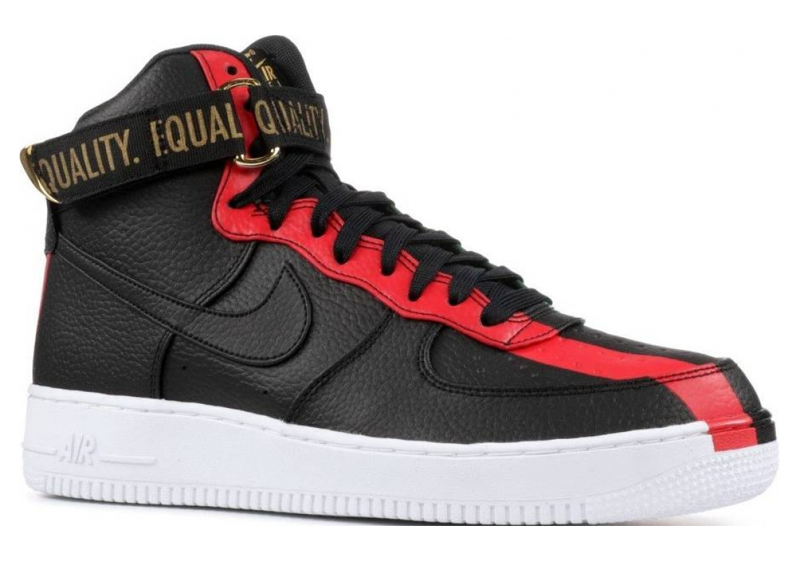 Nike Air Force 1 High BHM QS black, black-university red