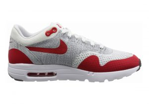 Nike Air Max 1 Ultra Flyknit Bianco (White / University Red-pure Platinum) (Rosso-platino)