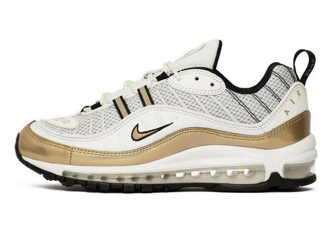 Nike Air Max 98 Summit White, Metallic Gold