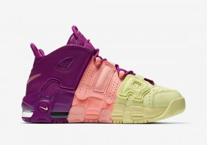 Nike Air More Uptempo Citron Pink Bright Purple