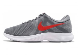 Nike Revolution 4 Cool Grey Habanero Red White