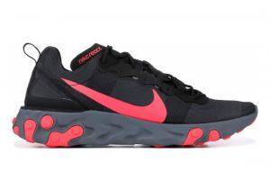 Nike React Element 55 Black, Solar Red-cool Grey