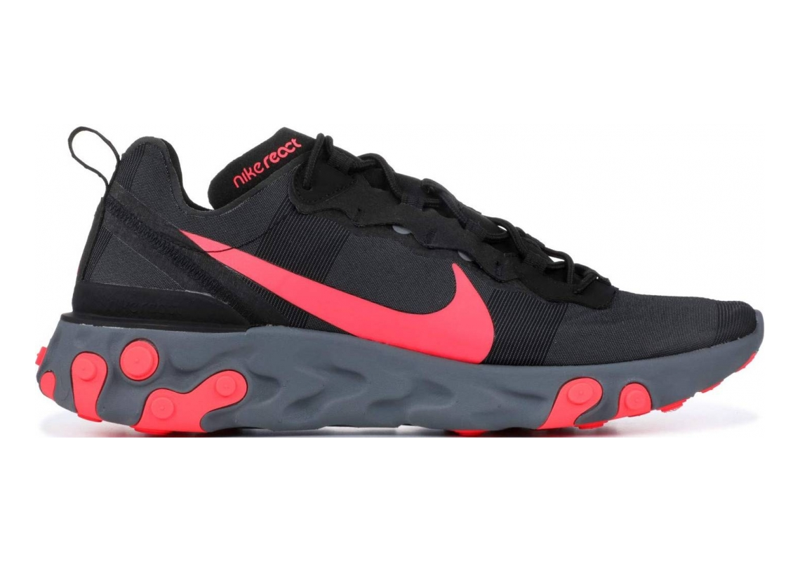 Nike React Element 55 Black, Solar Red-cool Grey