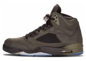 Air Jordan 5 Retro sequoia, fire red-mdm olv-blck