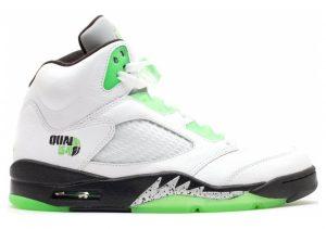 Air Jordan 5 Retro White, Rdnt Grn-blk-mtllc Slvr