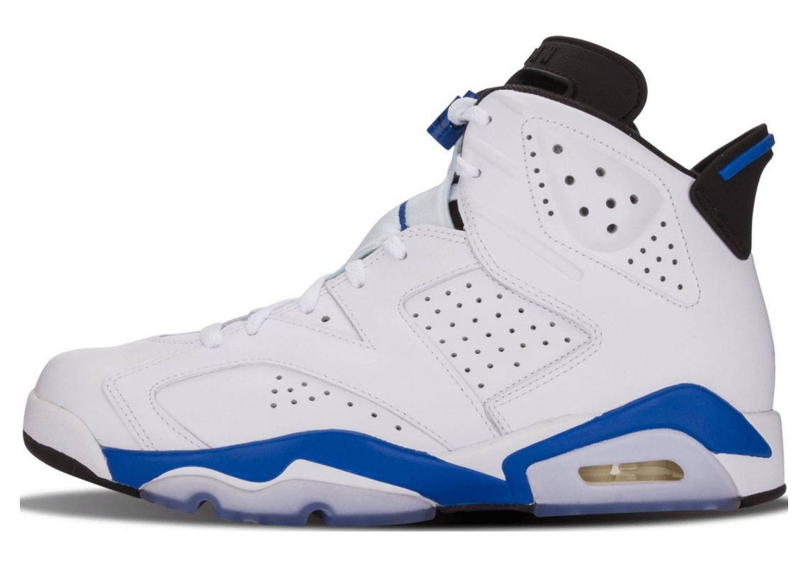 Air Jordan 6 White, Sport Blue-black