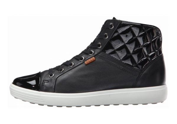 Ecco Soft 7 High Top Black/Black/Powder (Black/Black/Powder58658)