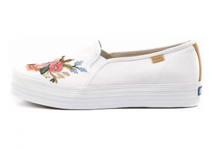 Keds X Rifle Paper Co. Triple Decker Lively Embroidery White