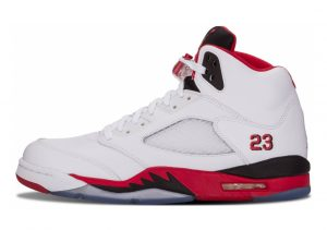 Air Jordan 5 Retro White, Fire Red-black