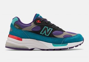 New Balance 992 Teal Purple/Red colorway