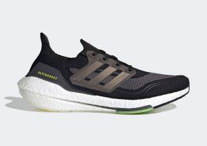 Adidas Ultraboost 21 Core Black/Silver Metallic/Solar Yellow